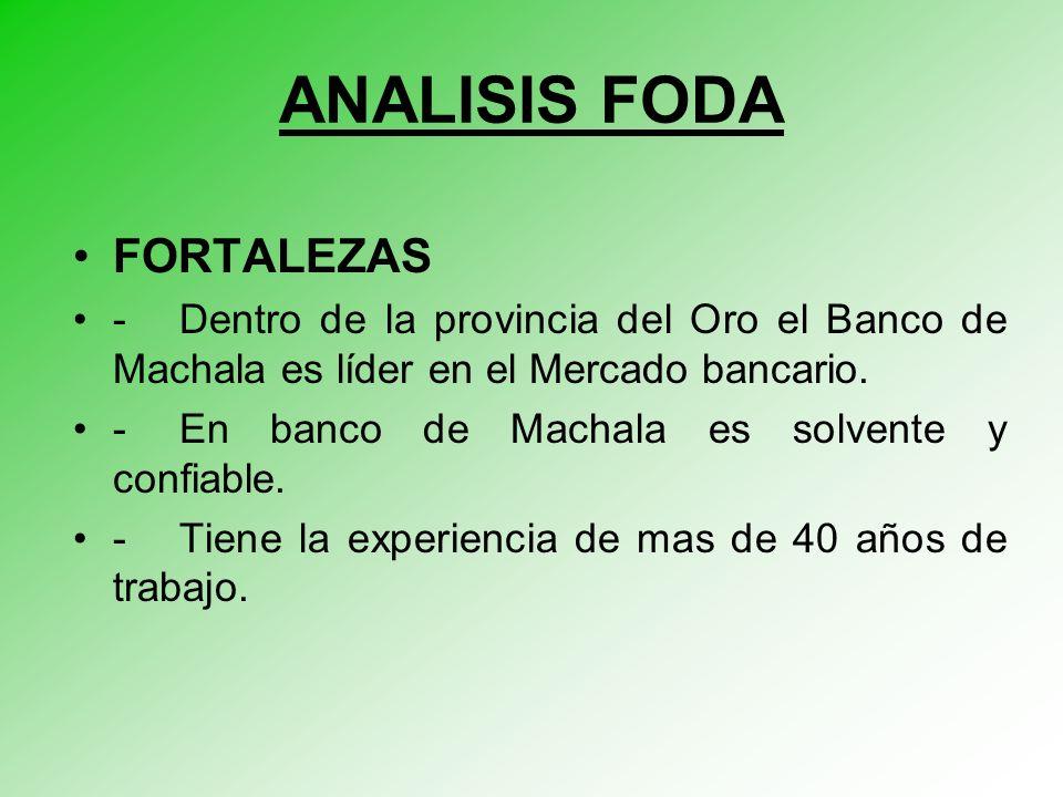 ANALISIS FODA FORTALEZAS - Dentro de la provincia del Oro el Banco de Machala es líder en el Mercado bancario.