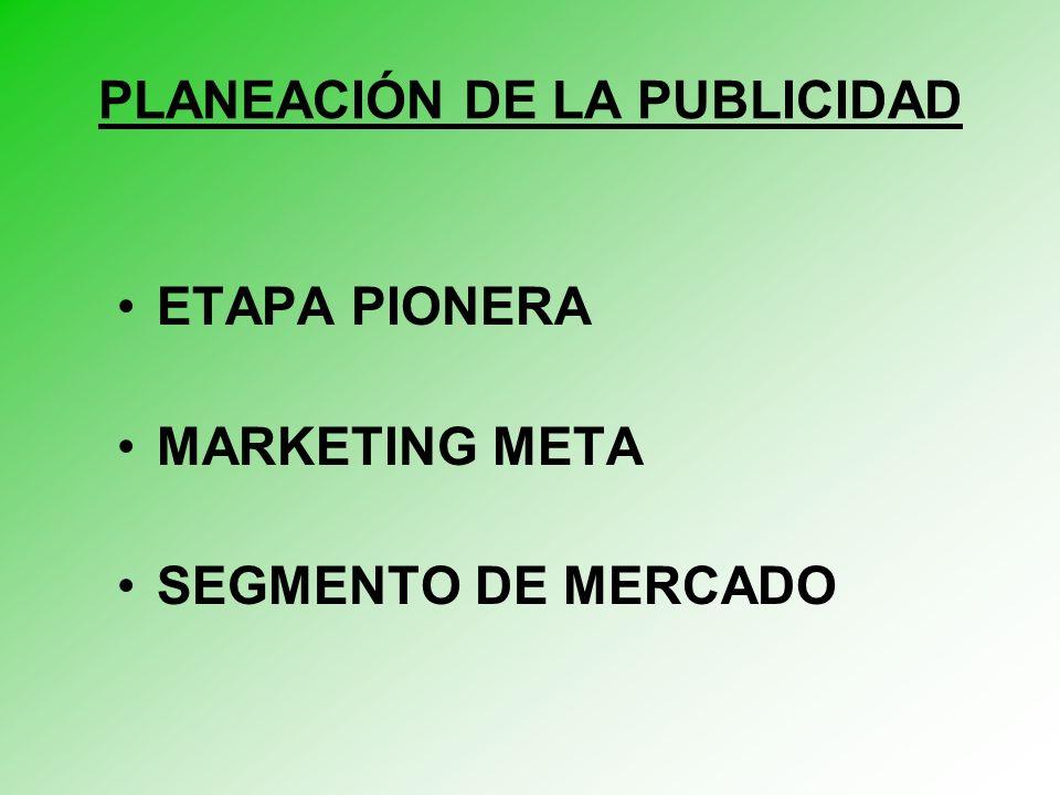 PLANEACIÓN DE LA PUBLICIDAD ETAPA PIONERA MARKETING META SEGMENTO DE MERCADO