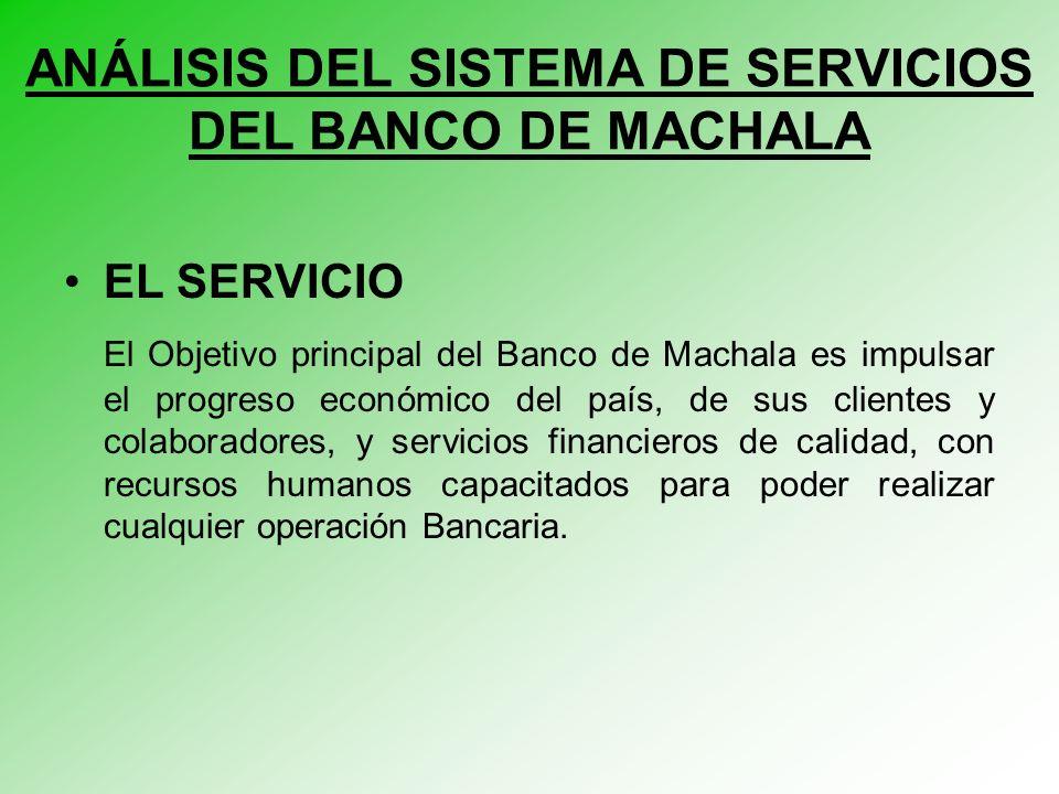 EL SERVICIO El Objetivo principal del Banco de Machala es impulsar el progreso económico del país, de sus clientes y colaboradores, y servicios financieros de calidad, con recursos humanos capacitados para poder realizar cualquier operación Bancaria.
