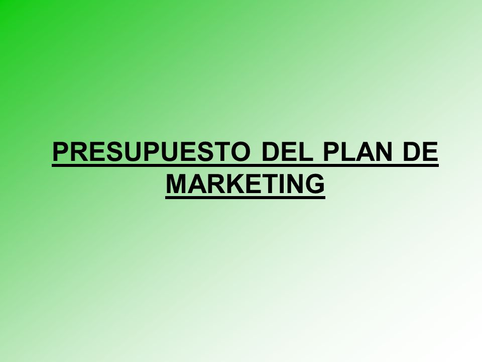 PRESUPUESTO DEL PLAN DE MARKETING