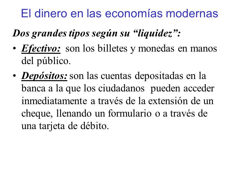 El dinero en las economías modernas Dos grandes tipos según su liquidez: Efectivo: son los billetes y monedas en manos del público. Depósitos: son las
