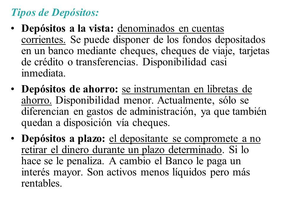 Tipos de Depósitos: Depósitos a la vista: denominados en cuentas corrientes. Se puede disponer de los fondos depositados en un banco mediante cheques,