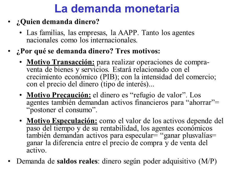 La demanda monetaria ¿Quien demanda dinero? Las familias, las empresas, la AAPP. Tanto los agentes nacionales como los internacionales. ¿Por qué se de