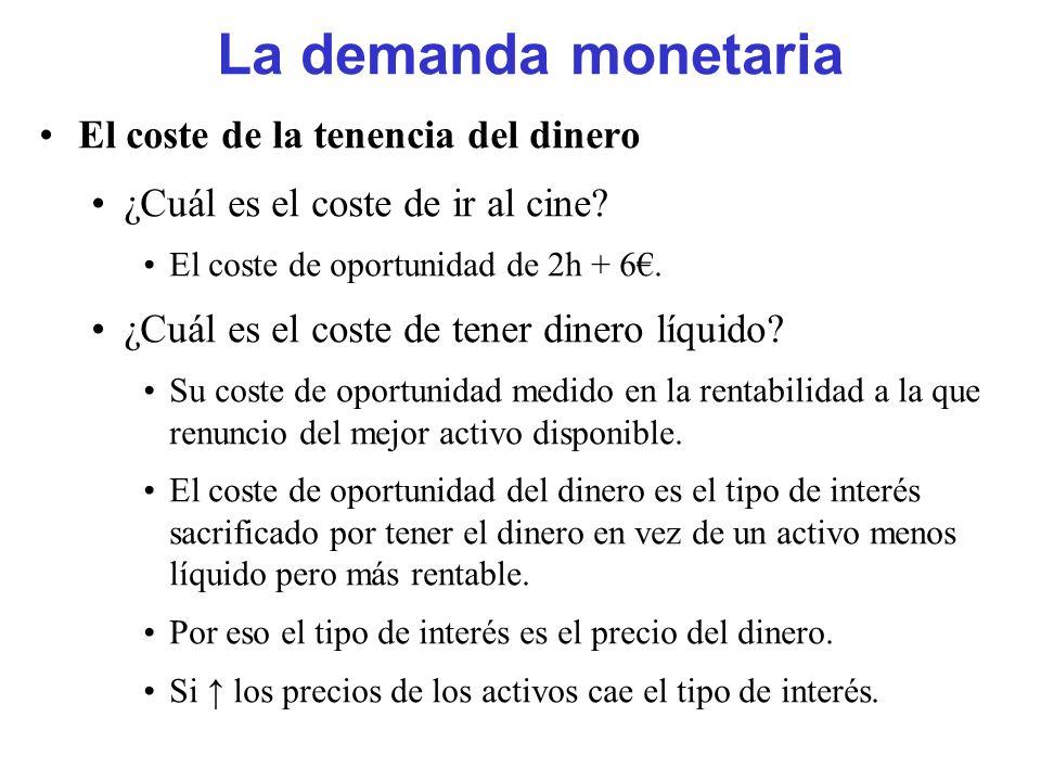 La demanda monetaria El coste de la tenencia del dinero ¿Cuál es el coste de ir al cine? El coste de oportunidad de 2h + 6. ¿Cuál es el coste de tener