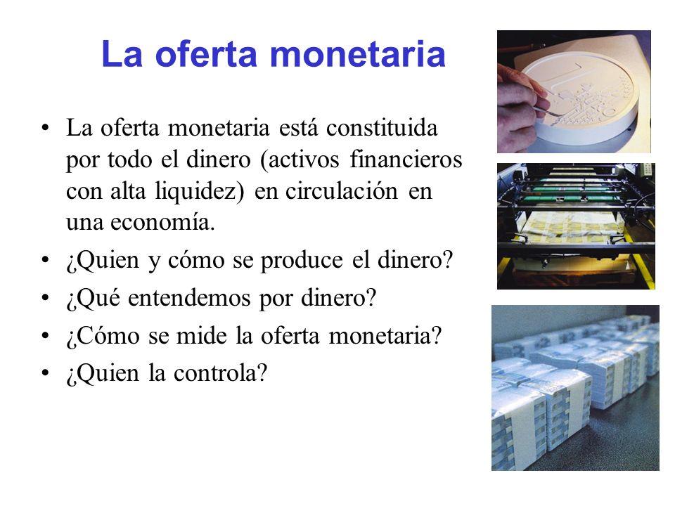La oferta monetaria La oferta monetaria está constituida por todo el dinero (activos financieros con alta liquidez) en circulación en una economía. ¿Q