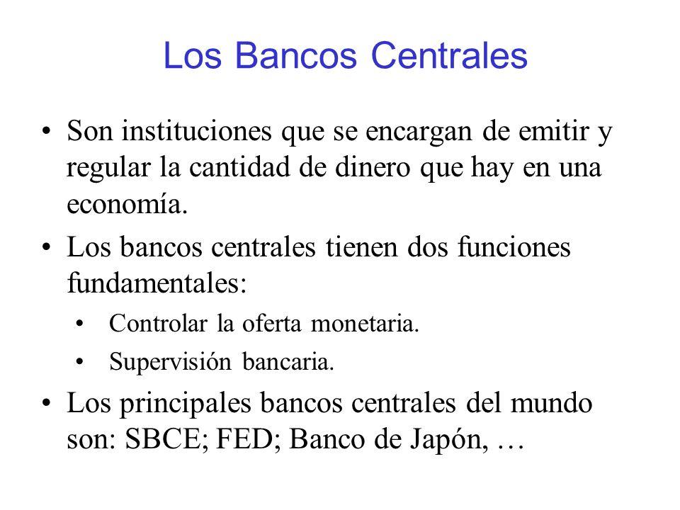 Los Bancos Centrales Son instituciones que se encargan de emitir y regular la cantidad de dinero que hay en una economía. Los bancos centrales tienen