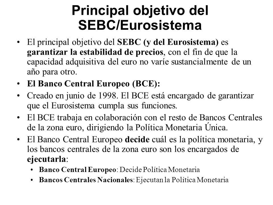 Principal objetivo del SEBC/Eurosistema El principal objetivo del SEBC (y del Eurosistema) es garantizar la estabilidad de precios, con el fin de que