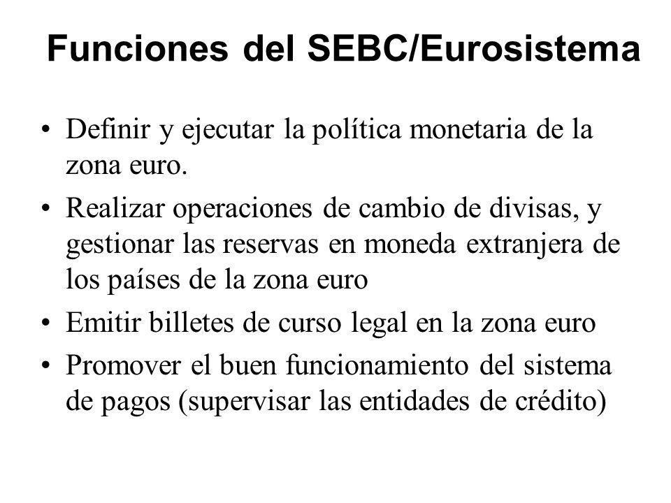 Funciones del SEBC/Eurosistema Definir y ejecutar la política monetaria de la zona euro. Realizar operaciones de cambio de divisas, y gestionar las re