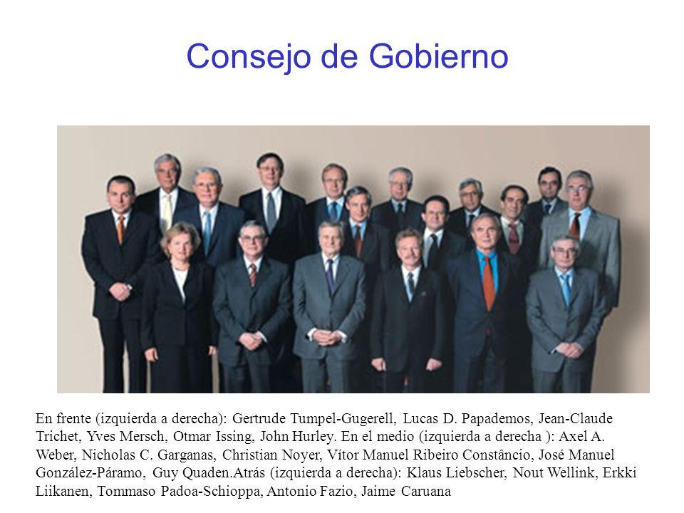 Consejo de Gobierno En frente (izquierda a derecha): Gertrude Tumpel-Gugerell, Lucas D. Papademos, Jean-Claude Trichet, Yves Mersch, Otmar Issing, Joh
