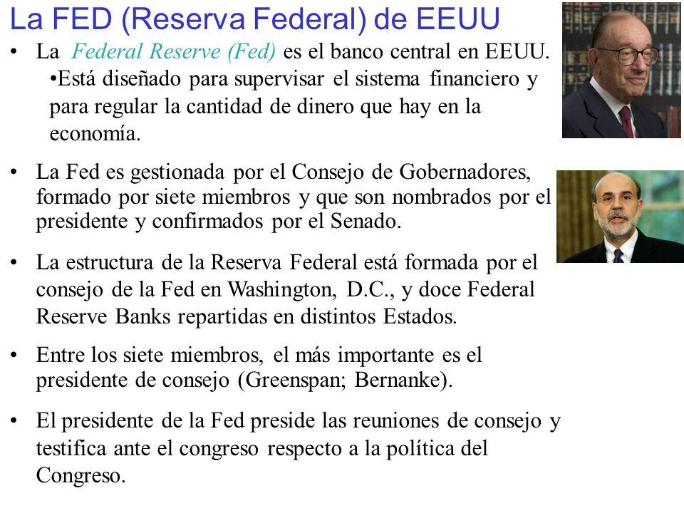 La FED (Reserva Federal) de EEUU La Federal Reserve (Fed) es el banco central en EEUU. Está diseñado para supervisar el sistema financiero y para regu