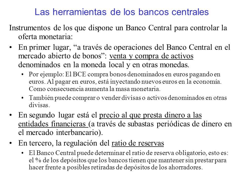 Las herramientas de los bancos centrales Instrumentos de los que dispone un Banco Central para controlar la oferta monetaria: En primer lugar, a travé