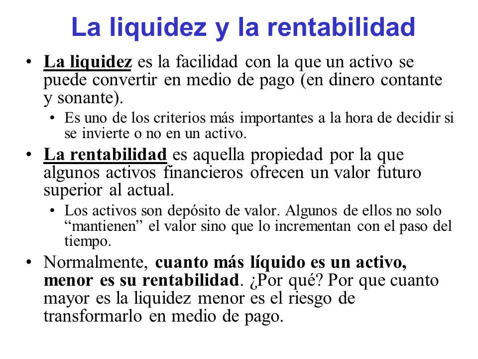 La liquidez y la rentabilidad La liquidez es la facilidad con la que un activo se puede convertir en medio de pago (en dinero contante y sonante). Es
