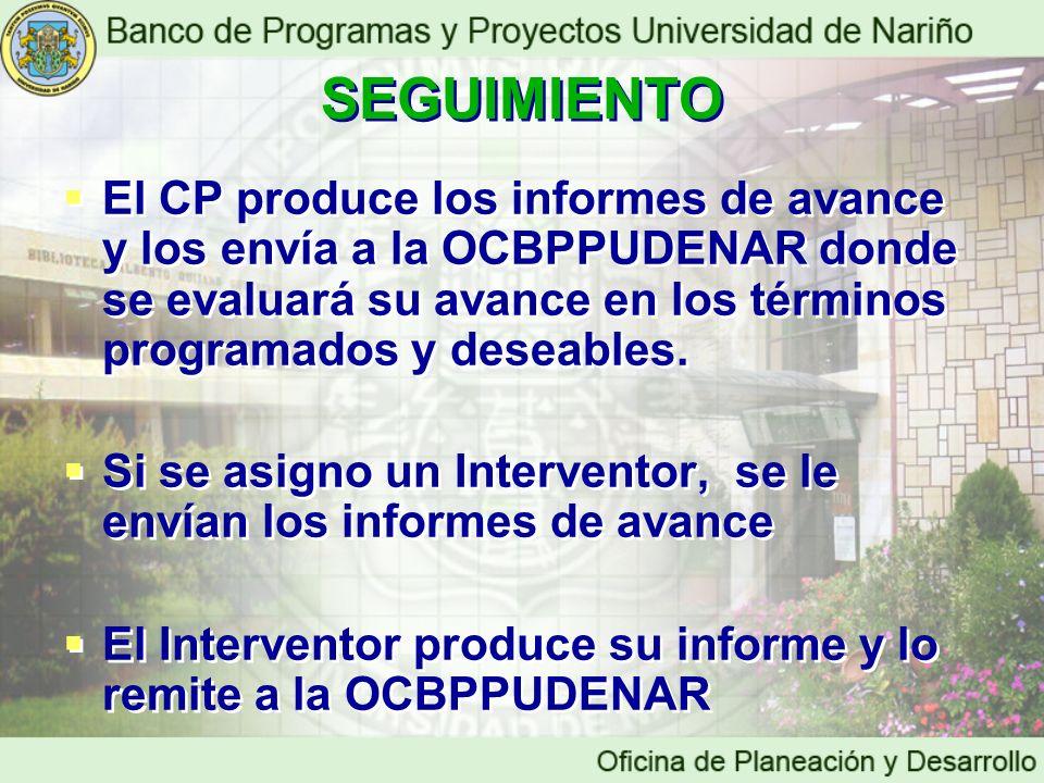 El CP produce los informes de avance y los envía a la OCBPPUDENAR donde se evaluará su avance en los términos programados y deseables. Si se asigno un