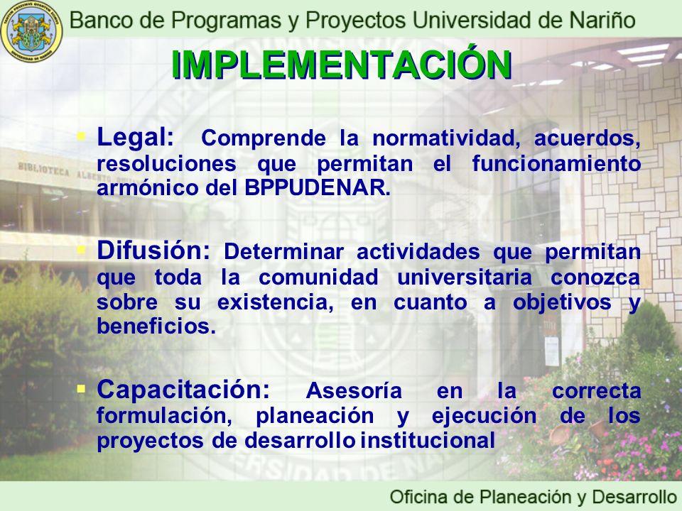 IMPLEMENTACIÓN IMPLEMENTACIÓN Legal: Comprende la normatividad, acuerdos, resoluciones que permitan el funcionamiento armónico del BPPUDENAR. Difusión