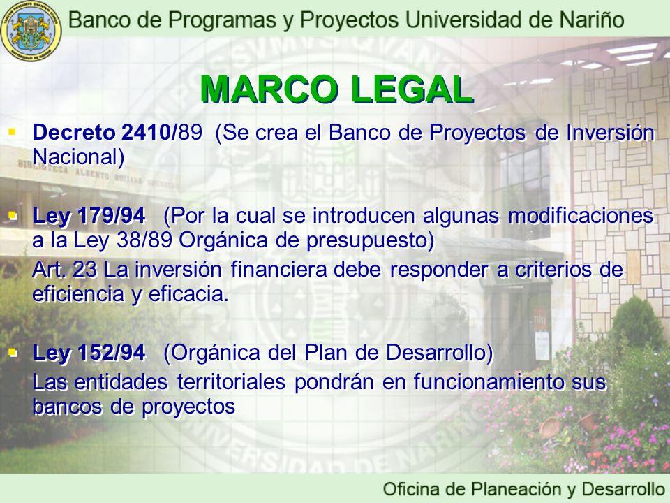 MARCO LEGAL Decreto 2410/89 (Se crea el Banco de Proyectos de Inversión Nacional) Ley 179/94 (Por la cual se introducen algunas modificaciones a la Le