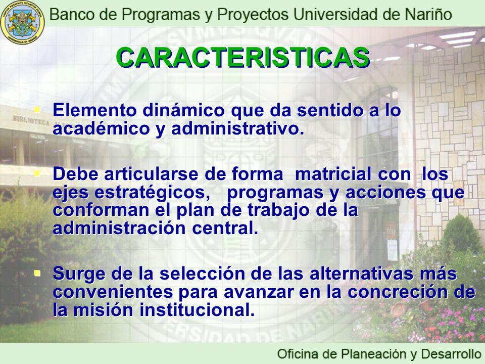 CARACTERISTICAS Elemento dinámico que da sentido a lo académico y administrativo. Debe articularse de forma matricial con los ejes estratégicos, progr