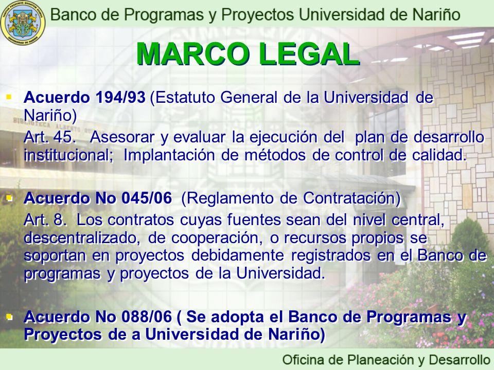 Acuerdo 194/93 (Estatuto General de la Universidad de Nariño) Art. 45. Asesorar y evaluar la ejecución del plan de desarrollo institucional; Implantac
