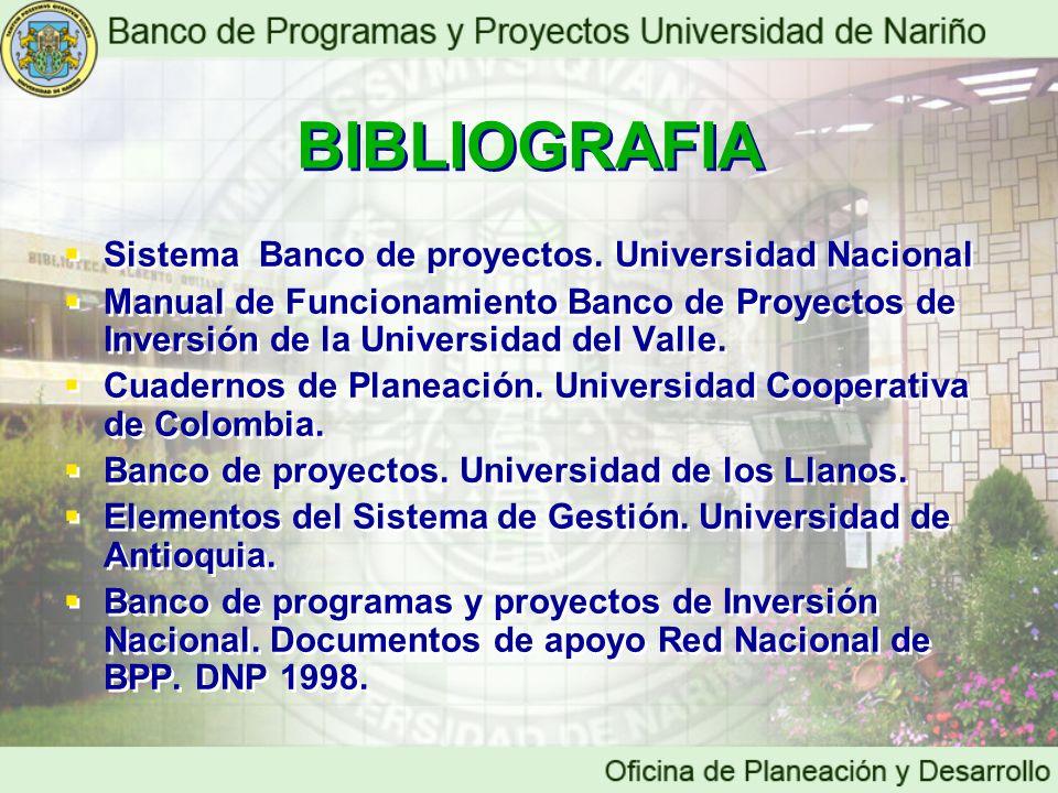 BIBLIOGRAFIA Sistema Banco de proyectos. Universidad Nacional Manual de Funcionamiento Banco de Proyectos de Inversión de la Universidad del Valle. Cu