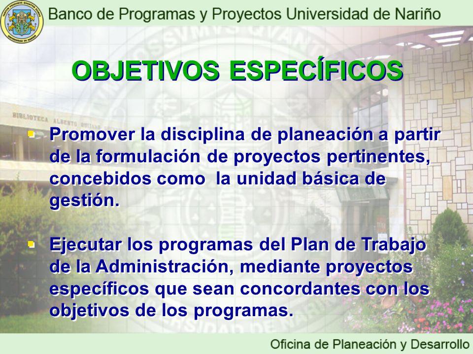 OBJETIVOS ESPECÍFICOS OBJETIVOS ESPECÍFICOS Promover la disciplina de planeación a partir de la formulación de proyectos pertinentes, concebidos como