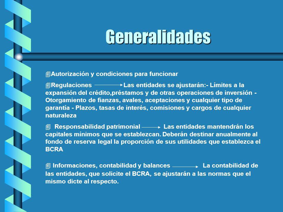 4Autorización y condiciones para funcionar 4Regulaciones Las entidades se ajustarán:- Límites a la expansión del crédito,préstamos y de otras operacio