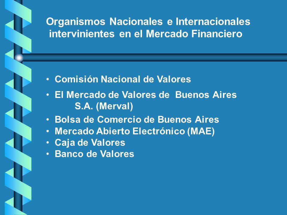Organismos Nacionales e Internacionales intervinientes en el Mercado Financiero Comisión Nacional de Valores El Mercado de Valores de Buenos Aires S.A