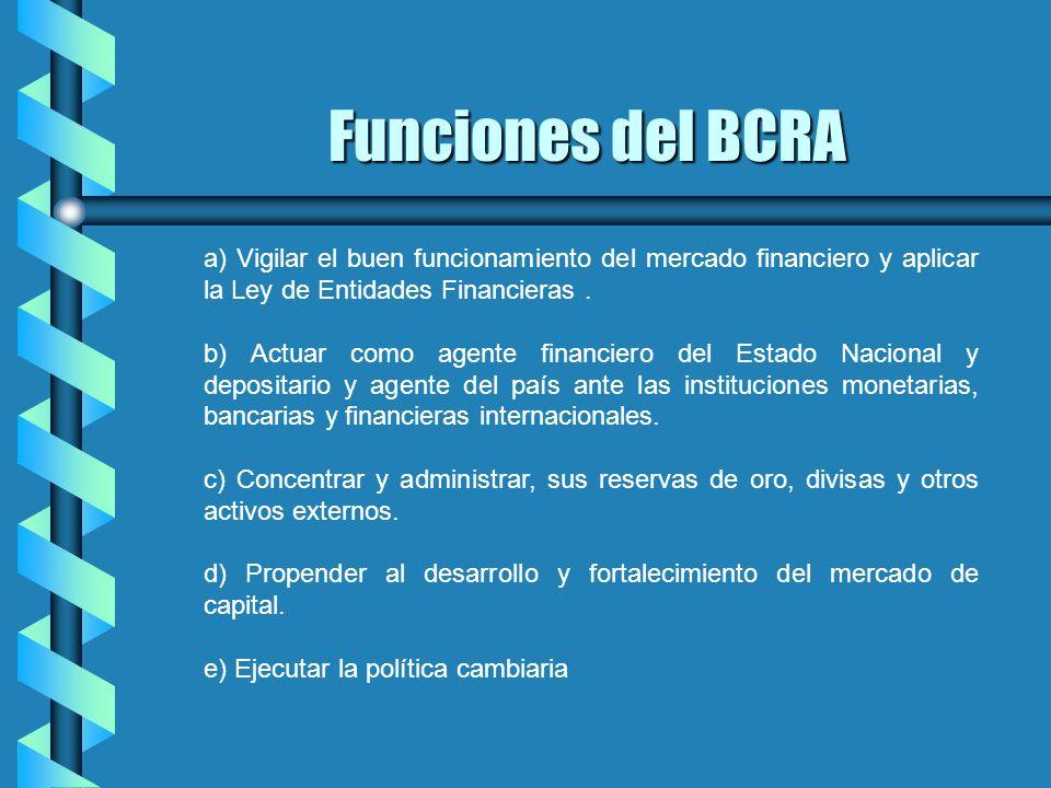 Funciones del BCRA a) Vigilar el buen funcionamiento del mercado financiero y aplicar la Ley de Entidades Financieras. b) Actuar como agente financier
