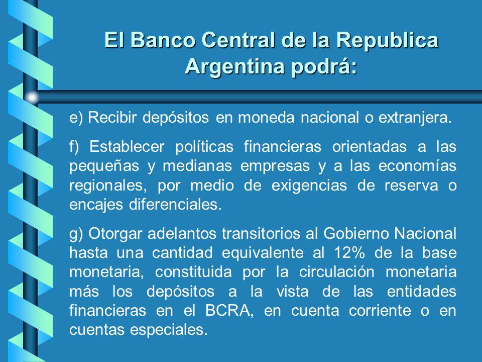 e) Recibir depósitos en moneda nacional o extranjera. f) Establecer políticas financieras orientadas a las pequeñas y medianas empresas y a las econom