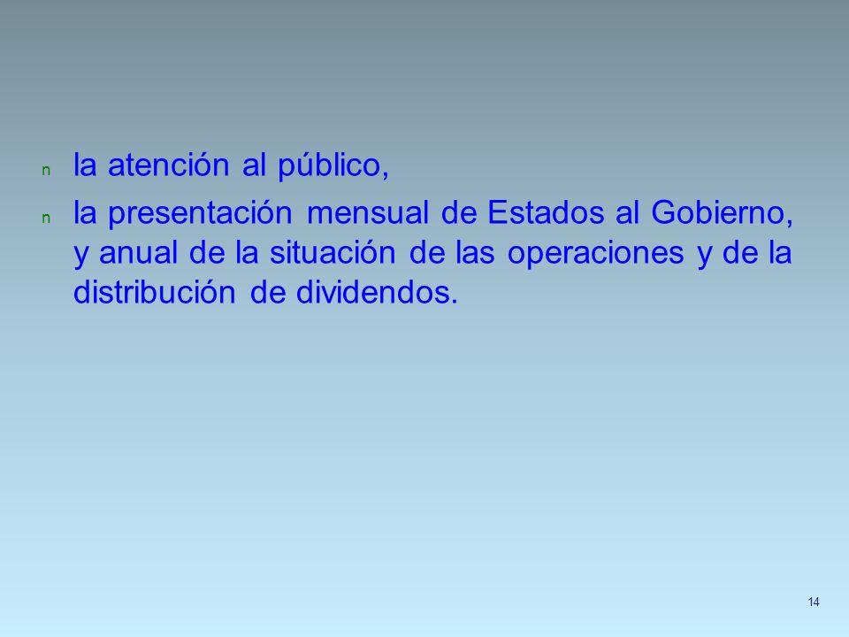 n la atención al público, n la presentación mensual de Estados al Gobierno, y anual de la situación de las operaciones y de la distribución de dividen
