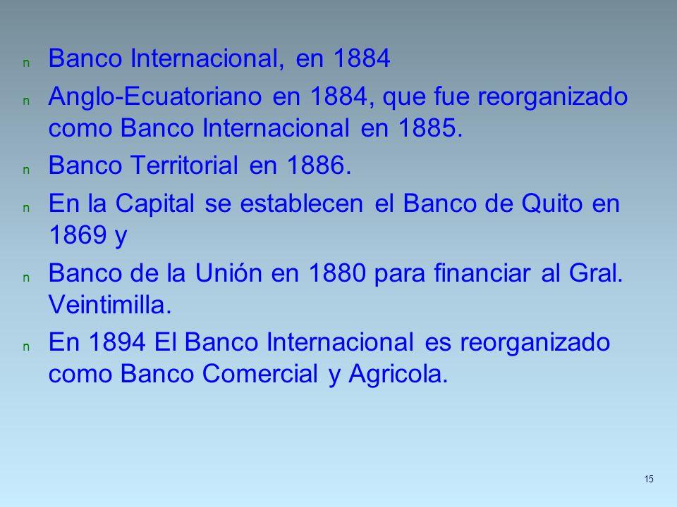 n Banco Internacional, en 1884 n Anglo-Ecuatoriano en 1884, que fue reorganizado como Banco Internacional en 1885. n Banco Territorial en 1886. n En l