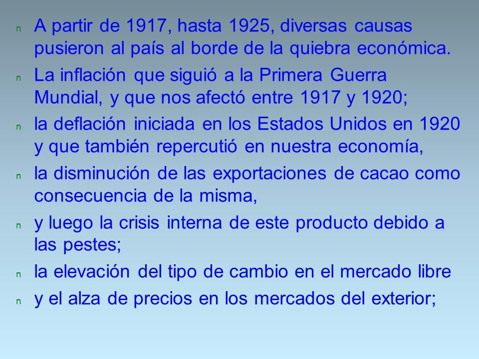 n A partir de 1917, hasta 1925, diversas causas pusieron al país al borde de la quiebra económica. n La inflación que siguió a la Primera Guerra Mundi