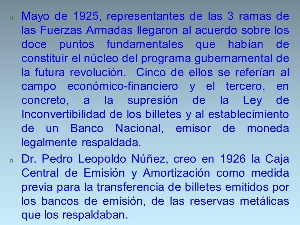 n Mayo de 1925, representantes de las 3 ramas de las Fuerzas Armadas llegaron al acuerdo sobre los doce puntos fundamentales que habían de constituir