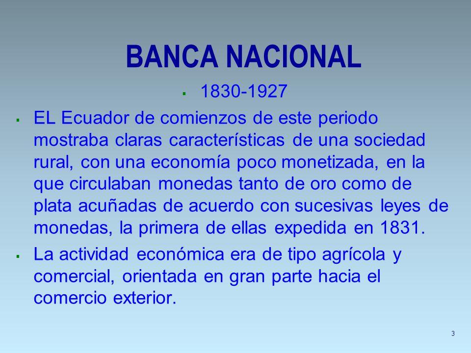 BANCA NACIONAL 1830-1927 EL Ecuador de comienzos de este periodo mostraba claras características de una sociedad rural, con una economía poco monetiza