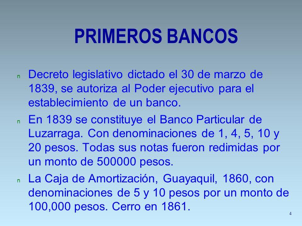 PRIMEROS BANCOS n Decreto legislativo dictado el 30 de marzo de 1839, se autoriza al Poder ejecutivo para el establecimiento de un banco. n En 1839 se
