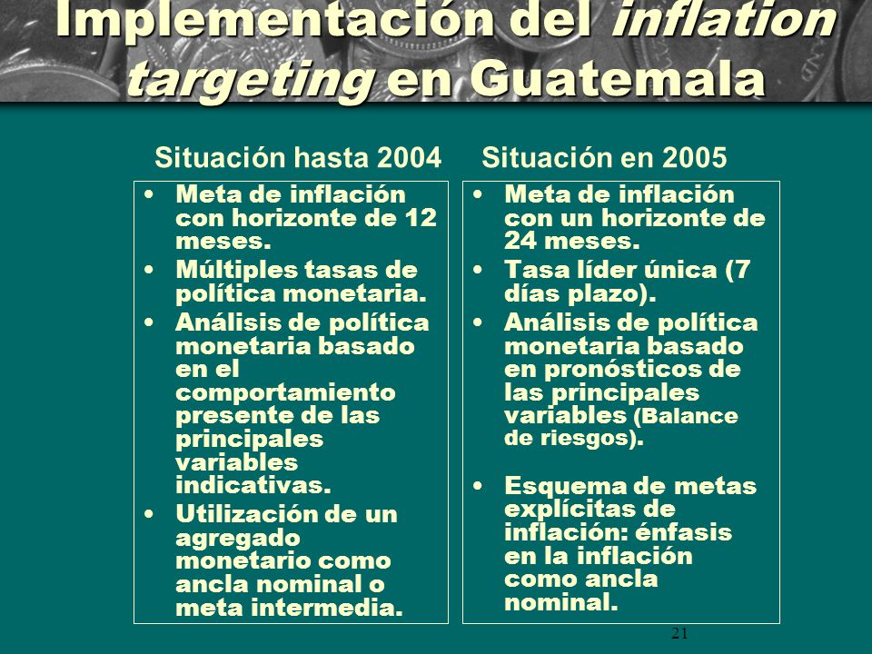 21 Implementación del inflation targeting en Guatemala Meta de inflación con horizonte de 12 meses.