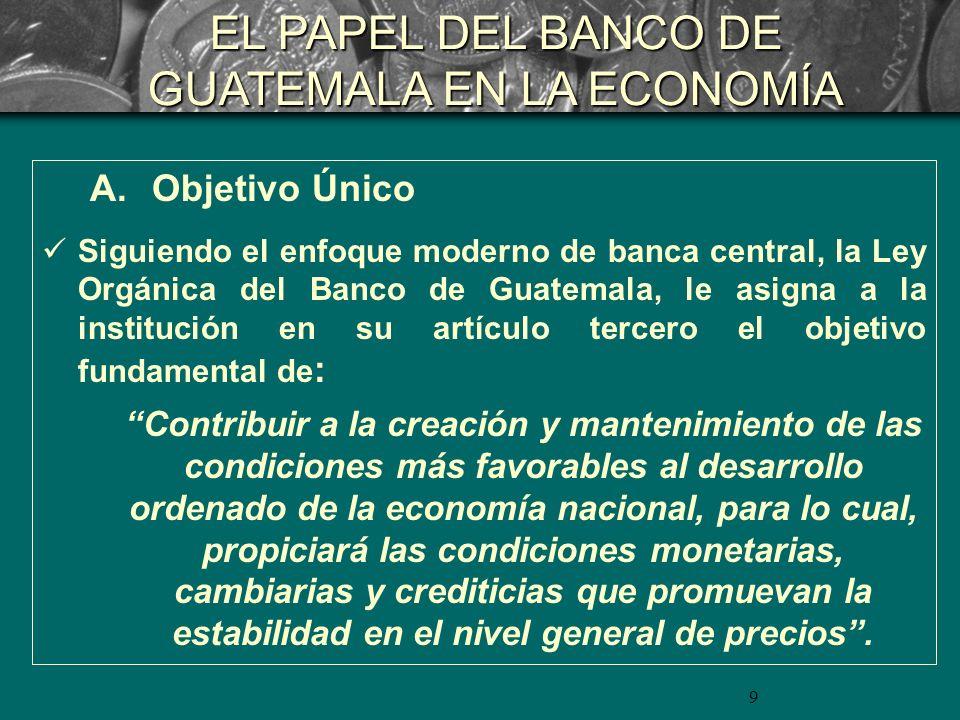 9 A. Objetivo Único Siguiendo el enfoque moderno de banca central, la Ley Orgánica del Banco de Guatemala, le asigna a la institución en su artículo t