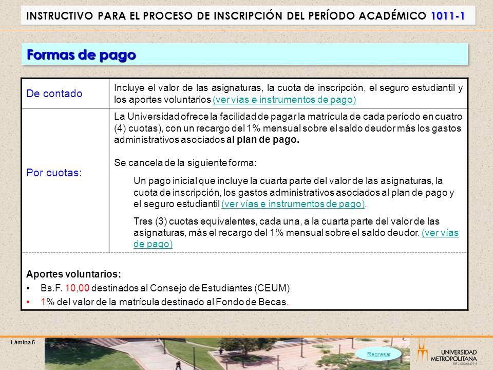 Lámina 5 1011-1 INSTRUCTIVO PARA EL PROCESO DE INSCRIPCIÓN DEL PERÍODO ACADÉMICO 1011-1 De contado Incluye el valor de las asignaturas, la cuota de in