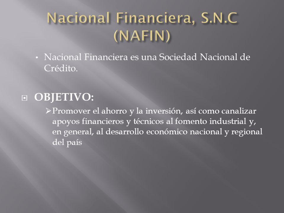 Nacional Financiera es una Sociedad Nacional de Crédito. OBJETIVO: Promover el ahorro y la inversión, así como canalizar apoyos financieros y técnicos