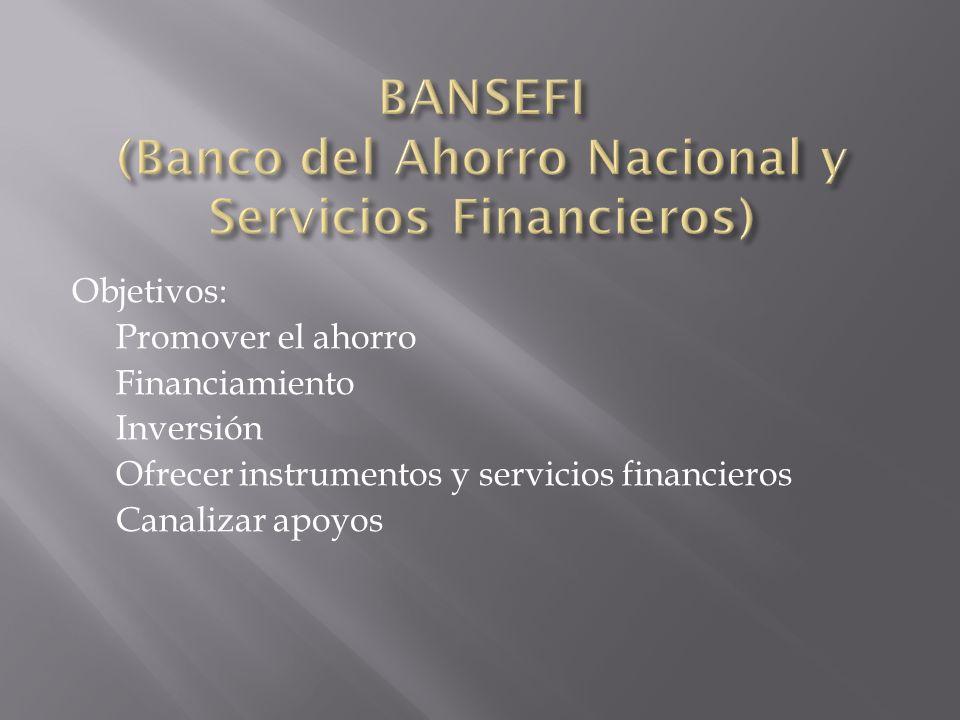 Objetivos: Promover el ahorro Financiamiento Inversión Ofrecer instrumentos y servicios financieros Canalizar apoyos