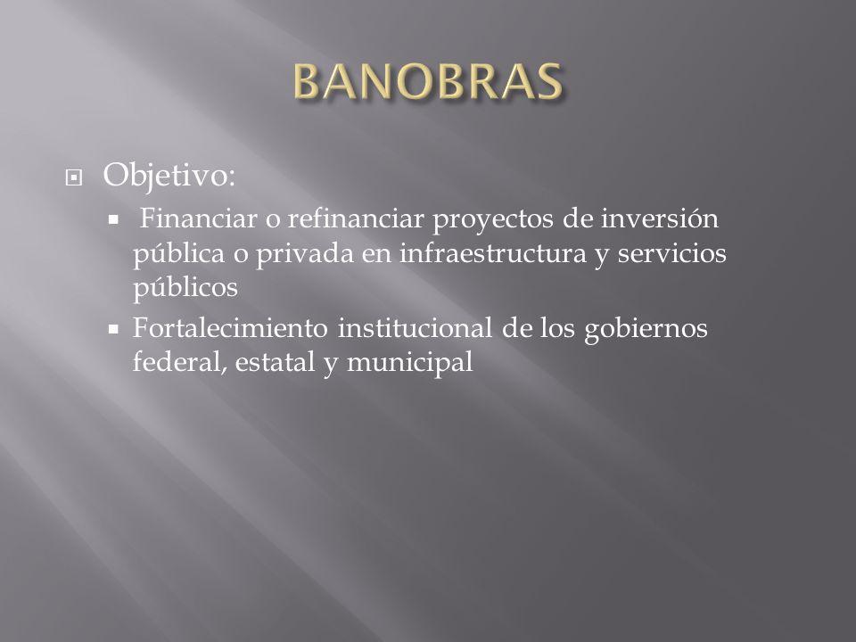 Objetivo: Financiar o refinanciar proyectos de inversión pública o privada en infraestructura y servicios públicos Fortalecimiento institucional de lo