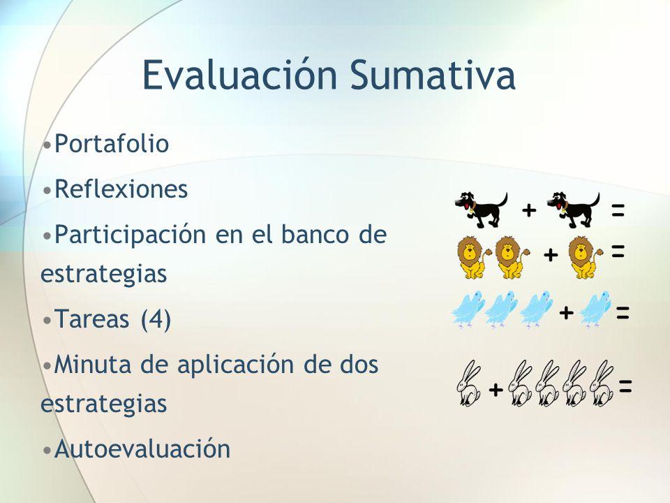 Evaluación Sumativa Portafolio Reflexiones Participación en el banco de estrategias Tareas (4) Minuta de aplicación de dos estrategias Autoevaluación