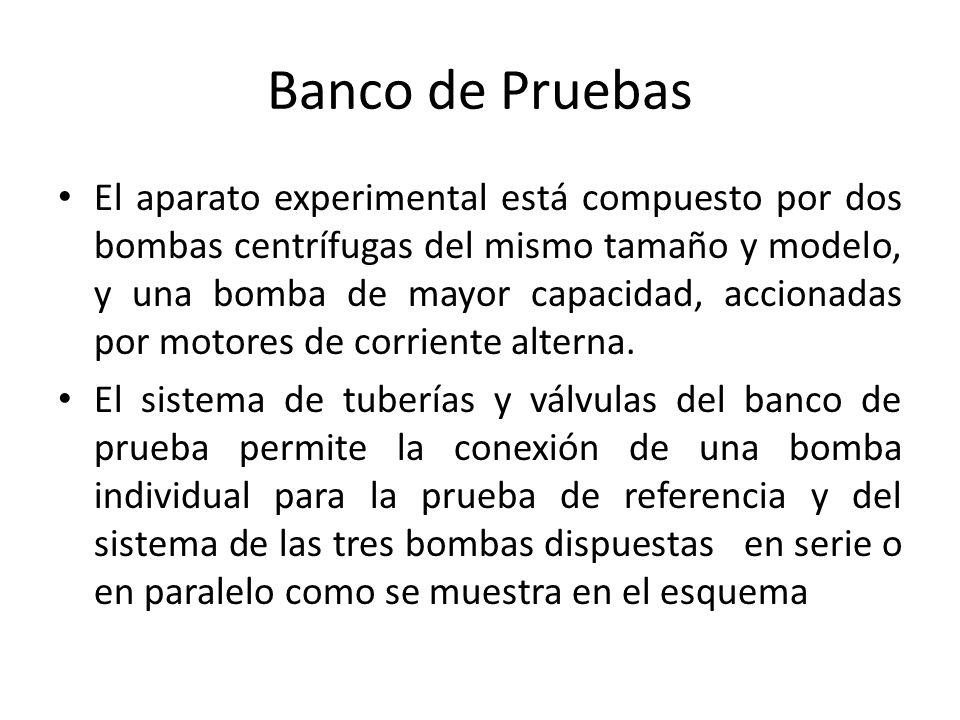 Banco de Pruebas El aparato experimental está compuesto por dos bombas centrífugas del mismo tamaño y modelo, y una bomba de mayor capacidad, accionad