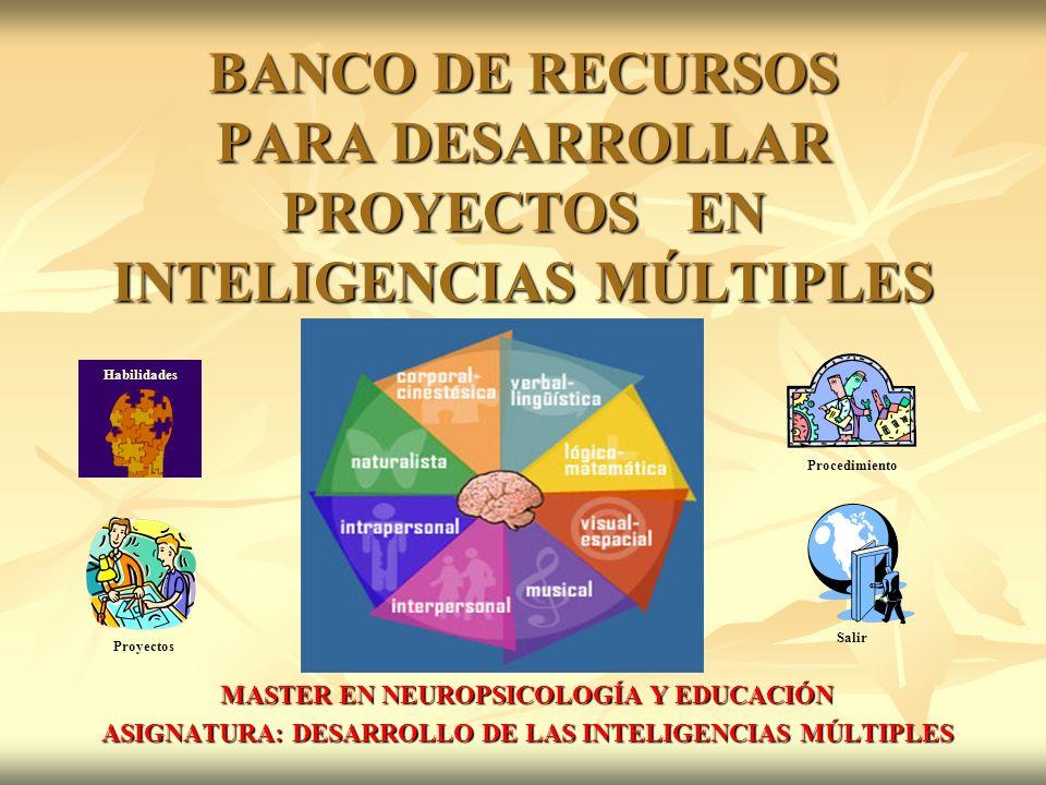 BANCO DE RECURSOS PARA DESARROLLAR PROYECTOS EN INTELIGENCIAS MÚLTIPLES MASTER EN NEUROPSICOLOGÍA Y EDUCACIÓN ASIGNATURA: DESARROLLO DE LAS INTELIGENCIAS MÚLTIPLES Habilidades Proyectos Procedimiento Salir