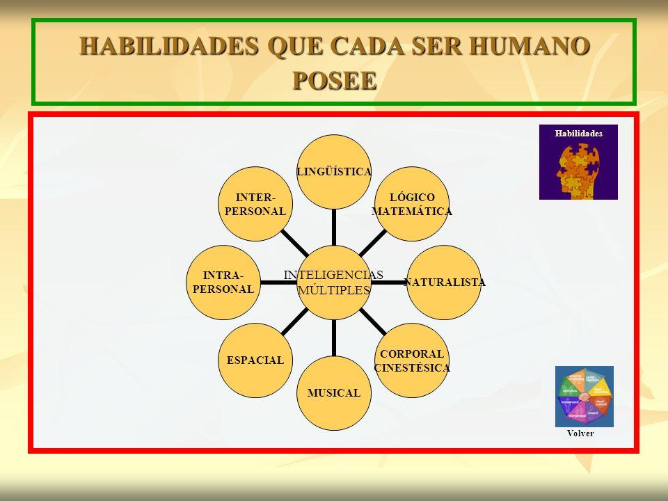 HABILIDADES QUE CADA SER HUMANO POSEE INTELIGENCIAS MÚLTIPLES LINGÜÍSTICA LÓGICO MATEMÁTICA NATURALISTA CORPORAL CINESTÉSICA MUSICALESPACIAL INTRA- PERSONAL INTER- PERSONAL Habilidades Volver