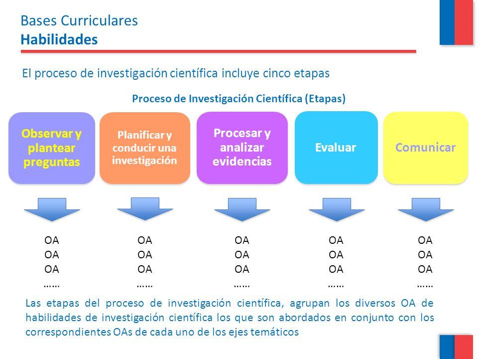 Proceso de Investigación Científica (Etapas) Evaluar Comunicar Observar y plantear preguntas Planificar y conducir una investigación Procesar y analiz