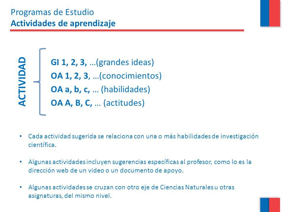 GI 1, 2, 3, …(grandes ideas) OA 1, 2, 3, …(conocimientos) OA a, b, c, … (habilidades) OA A, B, C, … (actitudes) ACTIVIDAD Programas de Estudio Activid