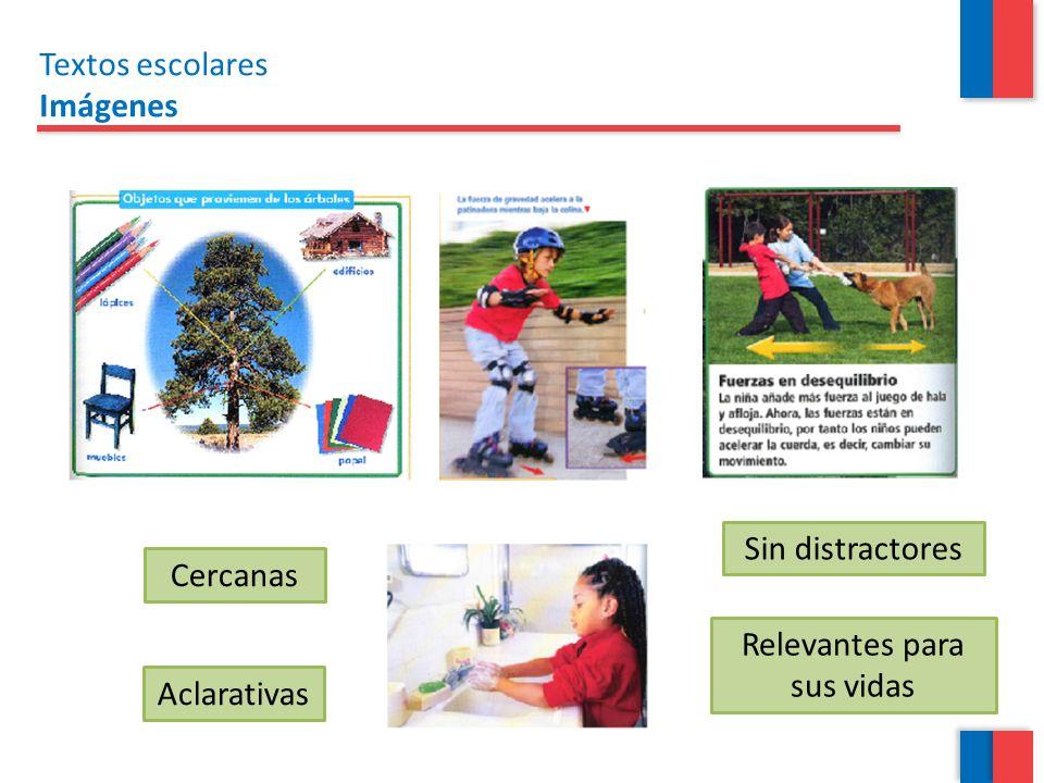 Textos escolares Imágenes Aclarativas Cercanas Sin distractores Relevantes para sus vidas