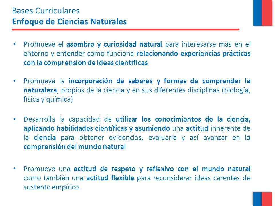 Las Bases Curriculares propone que los estudiantes: Comprendan Grandes Ideas de las ciencias naturales que incorporan el amplio espectro de conocimientos científicos de manera integrada, como ideas clave que explican fenómenos naturales.