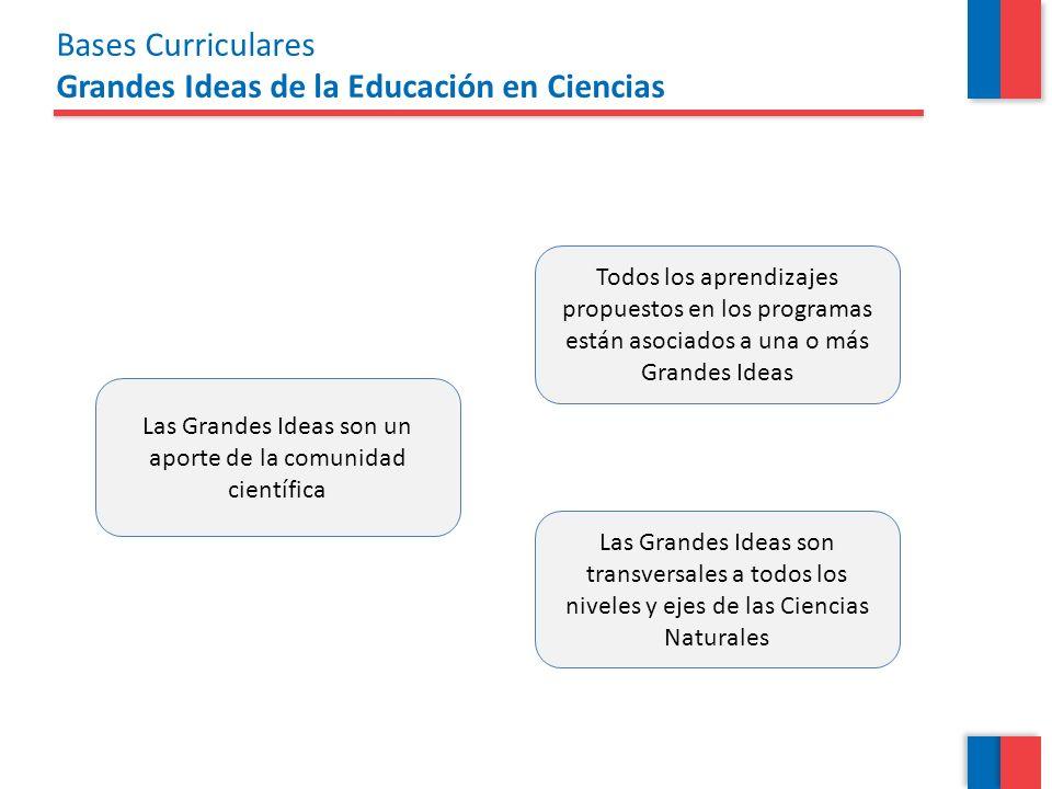 Bases Curriculares Grandes Ideas de la Educación en Ciencias Las Grandes Ideas son un aporte de la comunidad científica Todos los aprendizajes propues
