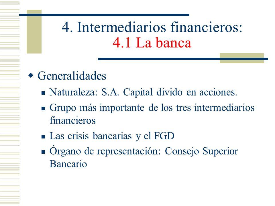 4. Intermediarios financieros: 4.1 La banca Generalidades Naturaleza: S.A. Capital divido en acciones. Grupo más importante de los tres intermediarios