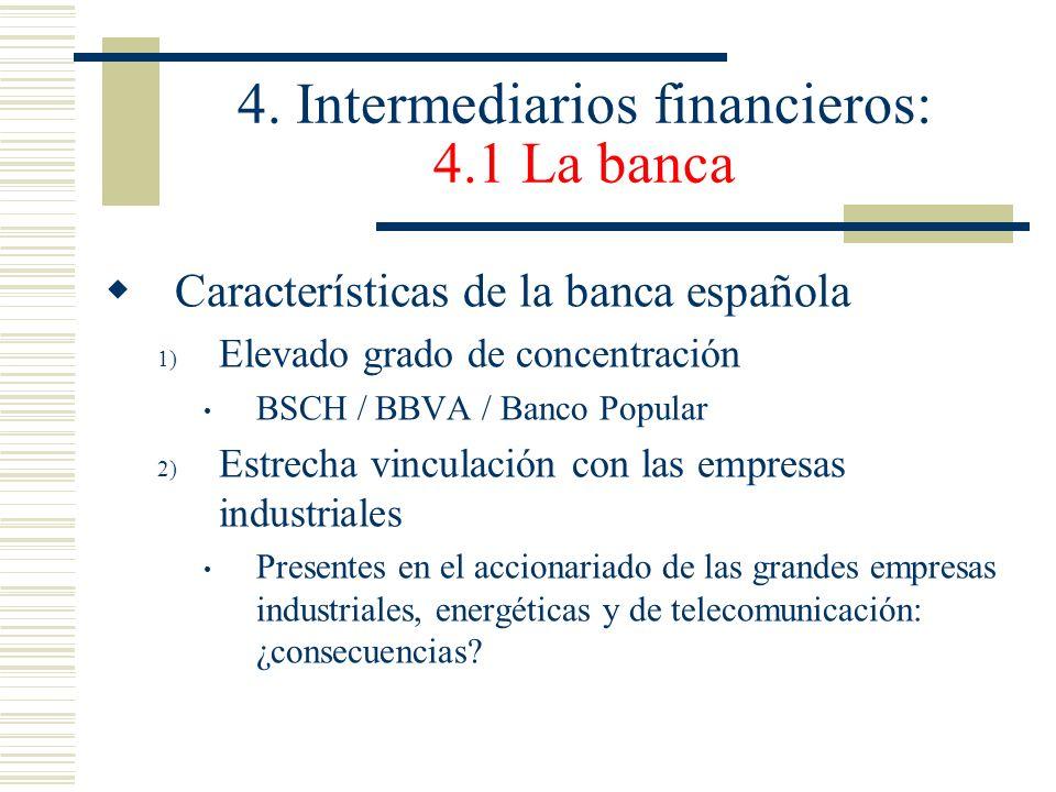 4. Intermediarios financieros: 4.1 La banca Características de la banca española 1) Elevado grado de concentración BSCH / BBVA / Banco Popular 2) Estr